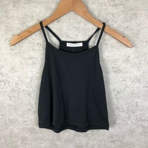 Honey Punch Charcoal Grey Ribbed Crop Top